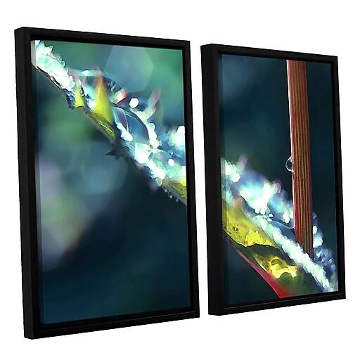 """ArtWall """"After Garden Rain"""" 2-Piece Canvas Set 24"""" x 32"""" Floater Framed (0uhl145b2432f)"""