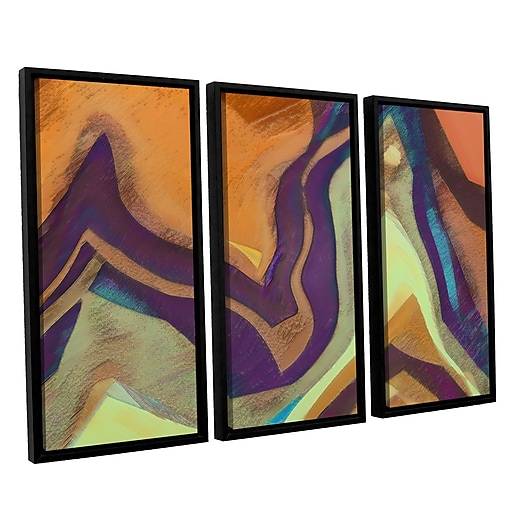 "ArtWall 'Arrt Attack' 3-Piece Canvas Set 36"" x 54"" Floater-Framed (0uhl147c3654f)"