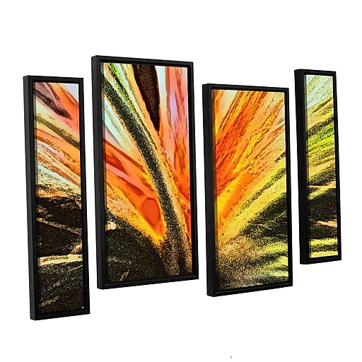"ArtWall 'Christmas Cactus' 4-Piece Canvas Staggered Set 24"" x 36"" Floater-Framed (0uhl154i2436f)"