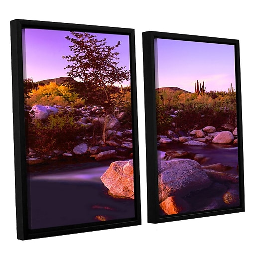 """ArtWall 'Deer Creek Evening' 2-Piece Canvas Set 24"""" x 32"""" Floater-Framed (0uhl157b2432f)"""