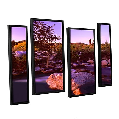 ArtWall 'Deer Creek Evening' 4-Piece Canvas Staggered Set 36