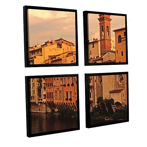 """ArtWall 'Florence Charm' 4-Piece Canvas Square Set 36"""" x 36"""" Floater-Framed (0yat070e3636f)"""