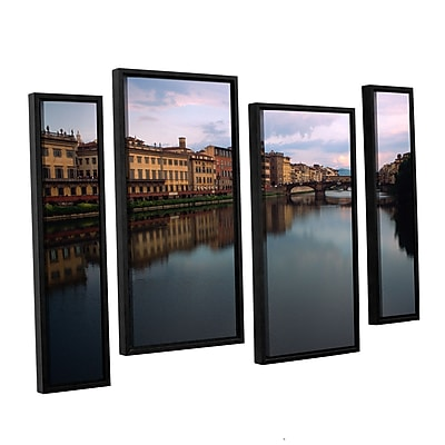 """ArtWall """"Florence Memories"""" 4-Piece Canvas Staggered Set 36"""" x 54"""" Floater Framed (0yat071i3654f)"""