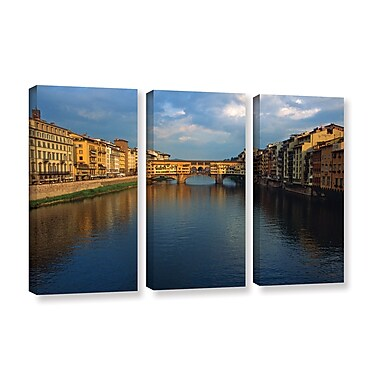 ArtWall 'Ponte Vecchio Sunset' 3-Piece Gallery-Wrapped Canvas Set 36