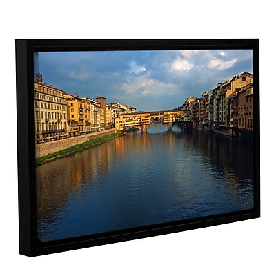 "ArtWall 'Ponte Vecchio Sunset' Gallery-Wrapped Canvas 32"" x 48"" Floater-Framed (0yat075a3248f)"