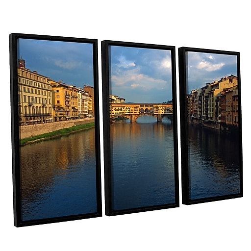 "ArtWall 'Ponte Vecchio Sunset' 3-Piece Canvas Set 36"" x 54"" Floater-Framed (0yat075c3654f)"