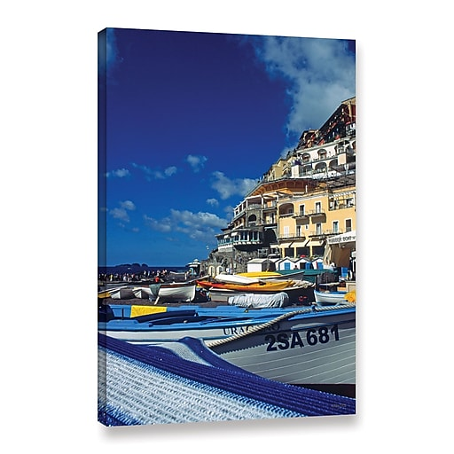 """ArtWall 'PositanoS Colorful Boats' Gallery-Wrapped Canvas 24"""" x 36"""" (0yat077a2436w)"""
