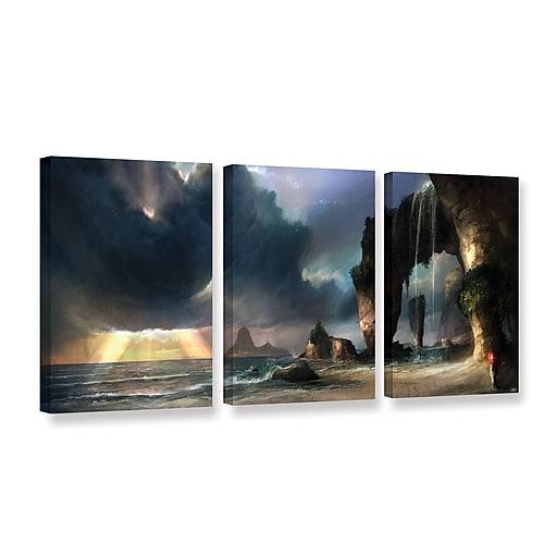 "ArtWall 'The Beach' 3-Piece Gallery-Wrapped Canvas Set 18"" x 36"" (0goa021c1836w)"