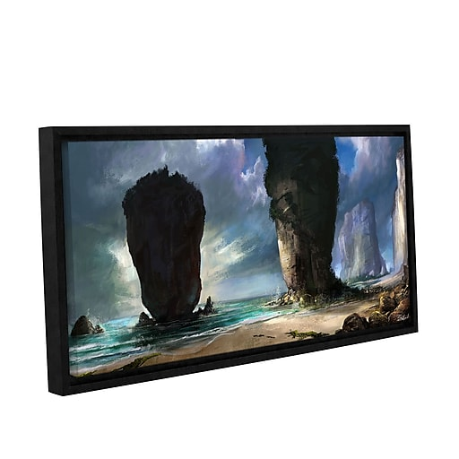 """ArtWall 'Beach Front' Gallery-Wrapped Canvas 24"""" x 48"""" Floater-Framed (0goa038a2448f)"""