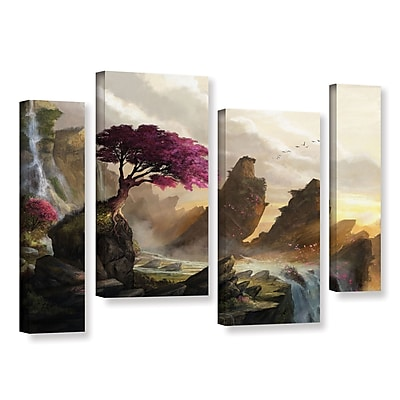 ArtWall 'Blossom Sunset' 4-Piece Gallery-Wrapped Canvas Staggered Set 36