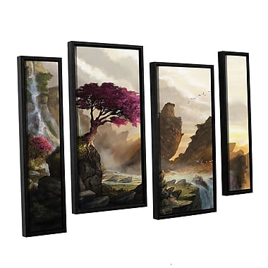 ArtWall 'Blossom Sunset' 4-Piece Floater Framed Canvas Staggered Set 24