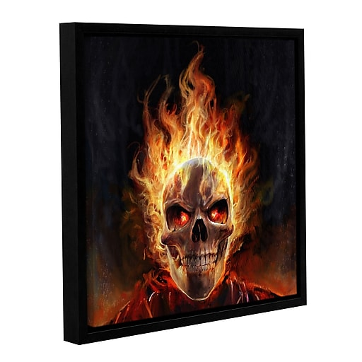 """ArtWall """"Flaming Skull"""" Gallery-Wrapped Canvas 36"""" x 36"""" Floater-Framed (0goa055a3636f)"""