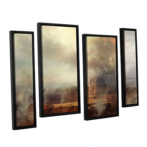 "ArtWall ""Before The Rain"" 4-Piece Canvas Staggered Set 36"" x 54"" Floater Framed (0str003i3654f)"