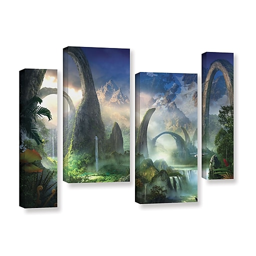 """ArtWall 'Great North Road' 4-Piece Gallery-Wrapped Canvas Staggered Set 36"""" x 54"""" (0str008i3654w)"""