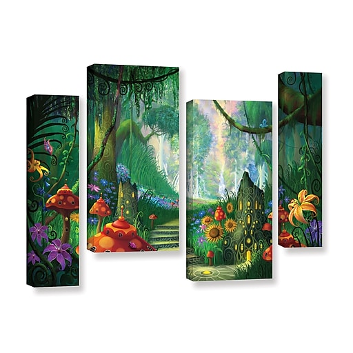 """ArtWall 'Hidden Treasure' 4-Piece Gallery-Wrapped Canvas Staggered Set 36"""" x 54"""" (0str009i3654w)"""