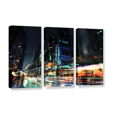 ArtWall 'Night City 3' 3-Piece Gallery-Wrapped Canvas Set 36