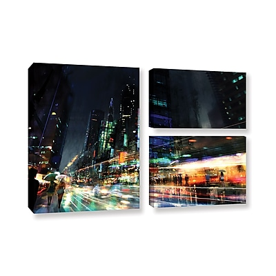 ArtWall 'Night City 3' 3-Piece Gallery-Wrapped Canvas Flag Set 24