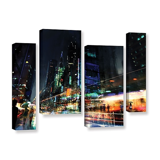 "ArtWall 'Night City 3' 4-Piece Gallery-Wrapped Canvas Staggered Set 36"" x 54"" (0str013i3654w)"