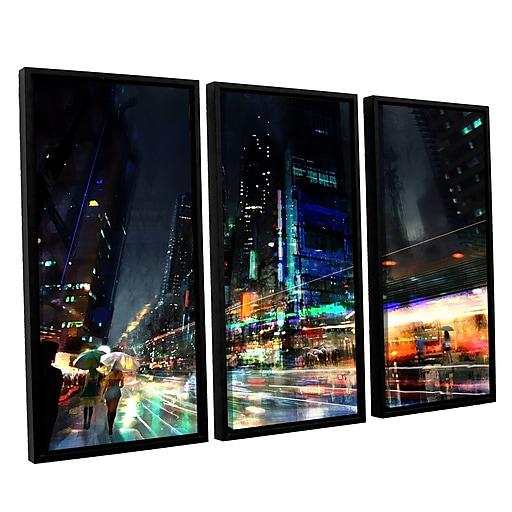 "ArtWall 'Night City 3' 3-Piece Canvas Set 36"" x 54"" Floater Framed (0str013c3654f)"