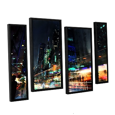 ArtWall 'Night City 3' 4-Piece Canvas Staggered Set 36