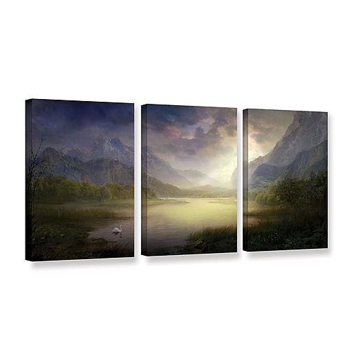 "ArtWall ""Silent Morning"" 3-Piece Gallery-Wrapped Canvas Set 18"" x 36"" (0str015c1836w)"