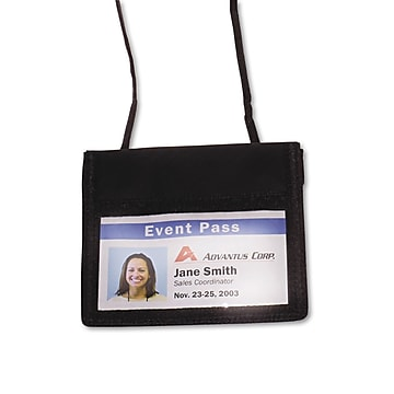 """Advantus ID Badge Holders With Convention Neck Pouch, Black, 4"""" x 2 1/4"""", 12/Pack (75452)"""