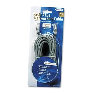 Belkin® FastCAT™ 5e No-Snag Patch Cable, 25 ft, Gray (A3L85025S)