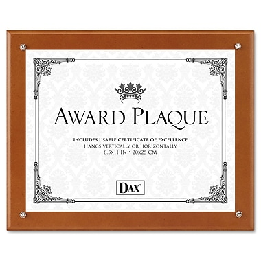 DAX® Plaque-In-An-Instant Award Plaque Kit, Wood, Up to 8 1/2 x 11, Walnut, Each (N100WT)
