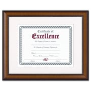 DAX® Prestige Document Frame, Plastic, 11 x 14 matted to 8 1/2 x 11, Walnut/Black, Each (N3028S1T)