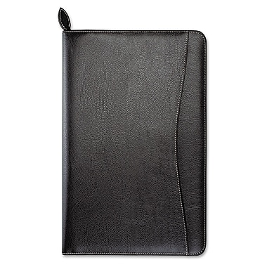 Day-Timer® Basque Bonded Leather Organizer, Zipper Closure, 5 1/2 x 8 1/2, Leather, Black (D85467)
