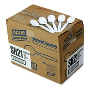 Dixie® Plastic Cutlery, Soup Spoon, Plastic, White, 1000/Carton (SH217)