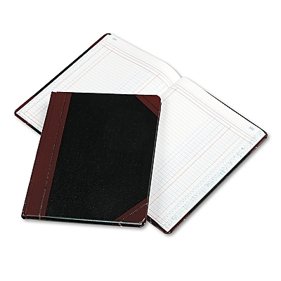 Boorum & Pease Columnar Book, Two Column, Black Cover, 150 Pages, 10 3/8 x 8 1/8