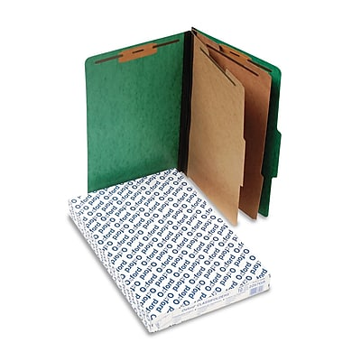 Pendaflex Pressguard Classification Folders, Legal, 2 Dividers/6 Section, Green, 10/Box