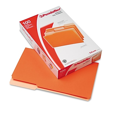 Pendaflex Interior File Folders, 1/3 Cut Top Tab, Legal, Orange, 100/Box