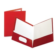 Oxford® Laminated Twin Pocket Folders, Crimson/Crimson, 25/Box (51718)