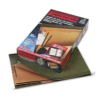 Pendaflex SureHook Reinforced Hanging Folder, 2 Divider, Legal, Standard Green, 10/Box