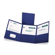 Oxford® Tri-Fold Pocket Folder, Blue/Blue, 20/Box (59802)