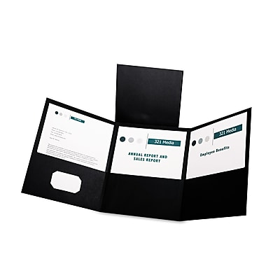 Oxford Tri-Fold Folder w/3 Pockets, Holds 150 Letter-Size Sheets, Black, 20 Folders/Box