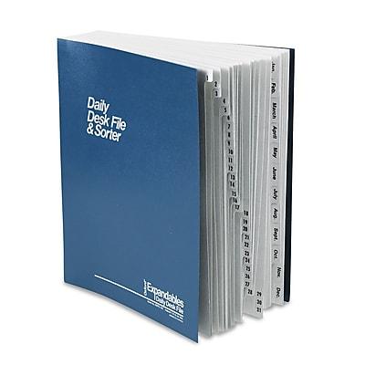 Pendaflex Expandable Desk File, 1-31/Jan-Dec Index, Letter Size, Pressboard, Black/Blue