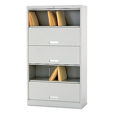 HON® Brigade™ 600 Series 5 Shelf Lateral File Cabinet w/Receding Doors, Light Grey, 36
