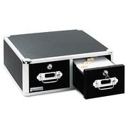 "Vaultz® Two Drawer Locking Index Card Cabinet, 4"" x 6"", 3000-Capacity, Black (VZ01395)"