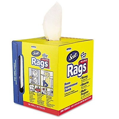 Scott® Rags in Box, 1-Ply, Dry Wipes White, 200/Roll, 1600/Carton (KCC 75260)