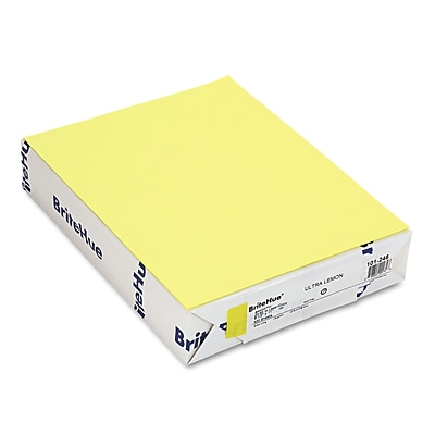Mohawk BriteHue® Multipurpose Color Paper, Ultra Lemon, 8 1/2