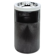 Rubbermaid® Commercial Smoking Urn with Ashtray and Metal Liner, 2 gal, Black/Chrome, Each (RCP 2586 BLA)