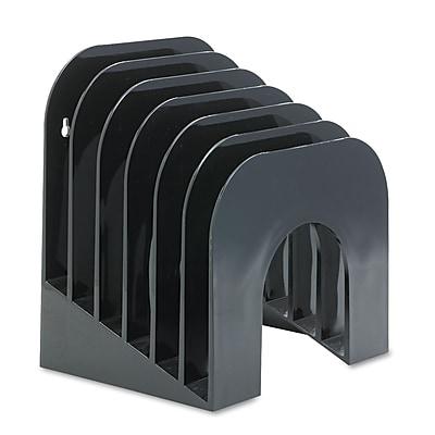 Rubbermaid®, Six-Tier Jumbo Incline Sorter, Plastic, 9 3/8 x 10 1/2 x 7 3/8, Black, Each (96601ROS)