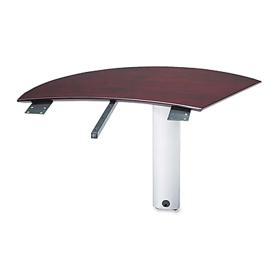 Mayline®, Napoli Series Right Curved Desk Extension, 47 x 28 x 29-1/2, Mahogany, AA-Grade Select Walnut Veneer (NEXTRMAH)