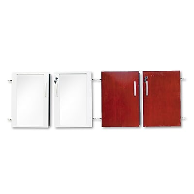 Mayline®, Doors for Veneer Low Wall Cabinet, 36w x 29-1/2h, Sierra Cherry/Glass, 4/Set (VLCDCRY)
