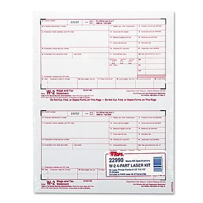 TOPS™ W-2 Tax Form, 50/Pack (22990)