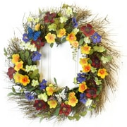 Floral Home Decor 22'' Colorful Trumpet Silk Flower Door Wreath