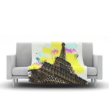 KESS InHouse Eifel - Bon Jour by Oriana Cordero Fleece Throw Blanket; 60'' H x 50'' W x 1'' D